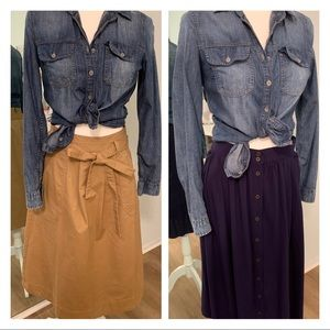 Gap khaki / blue skirts - Lot of 2